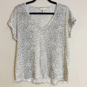 Joie Grey Linen Animal Print Tee